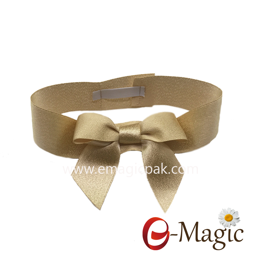 PB-048  1 inch satin ribbon with gold weft packing bow for christmas gift packing