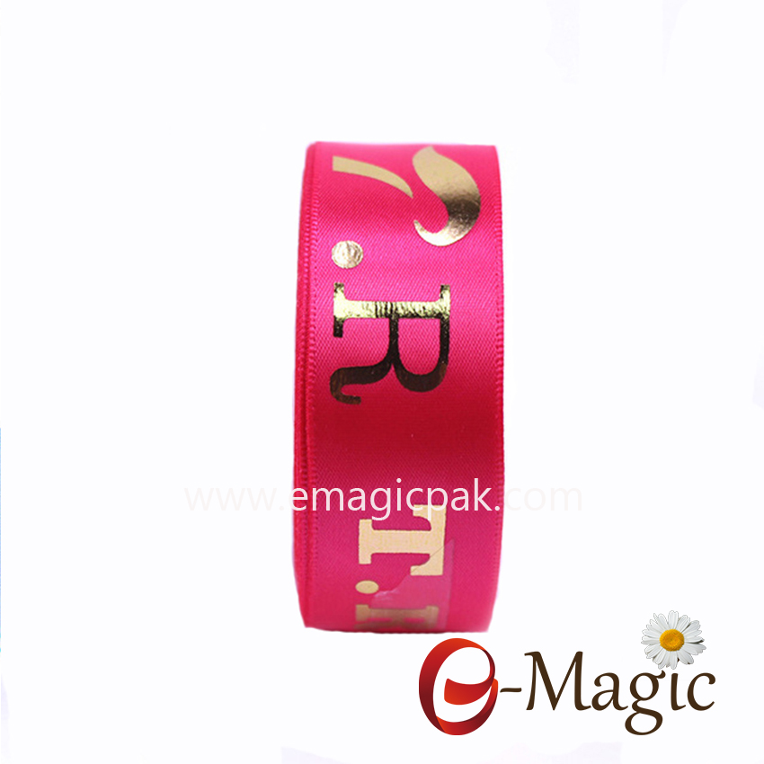 PR-022   22MM satin ribbon with hot stamp foil print logo in European gold