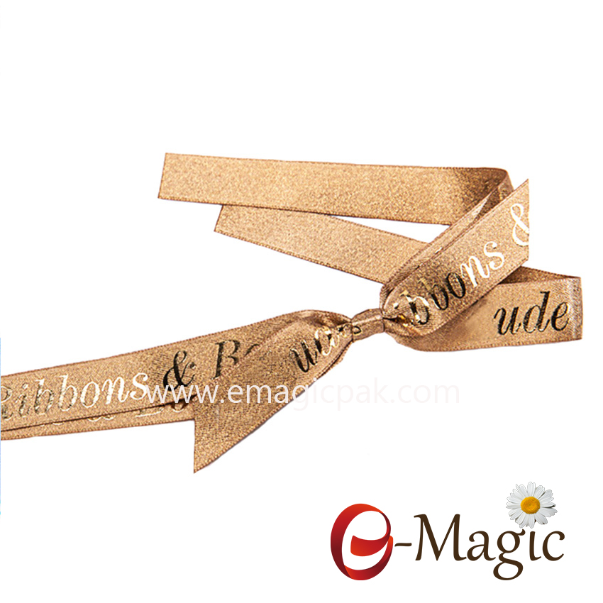 PB-073 lurex satin ribbon packing bow with puff foil logo