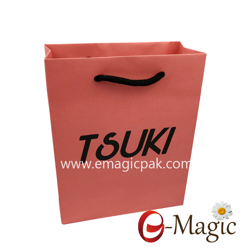 PSB-001 Custom luxury recycled white card paper shopping bag for packaging gift with rope handle