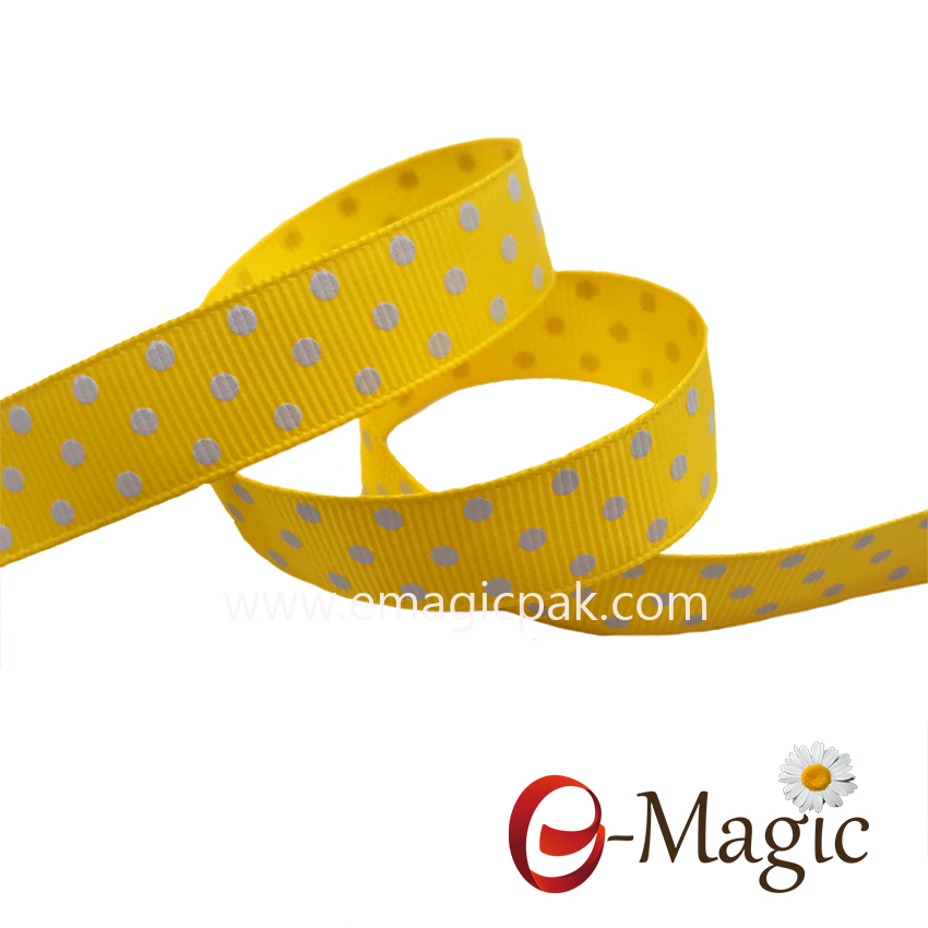Dots-020  16MM width 100% Polyester packing Print Polka dots Grosgrain Ribbon