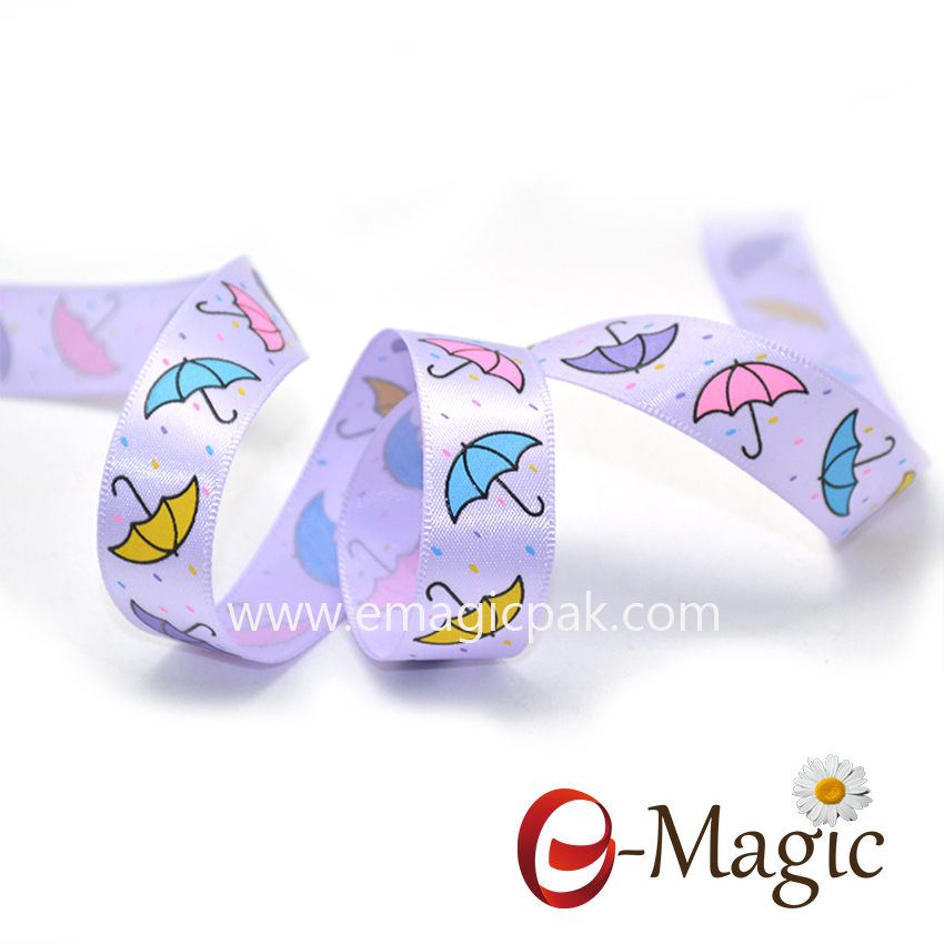 Baby-04  15MM satin ribbon with umbrella design for children