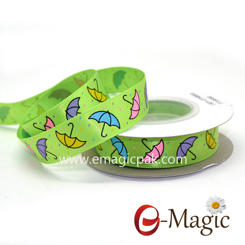 Baby-03  5/8 inch double sided satin ribbon with screen ink print umbrella printed ribbon