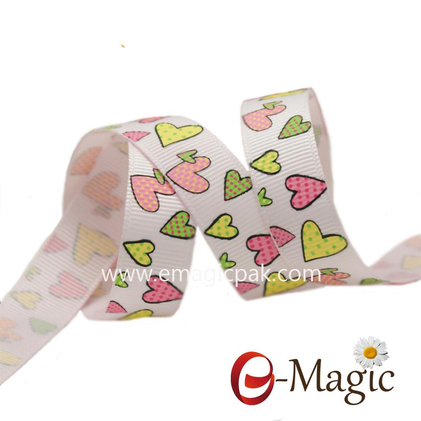 Valentines-17  Wholesale printed ribbon 16MM grosgrain ribbon