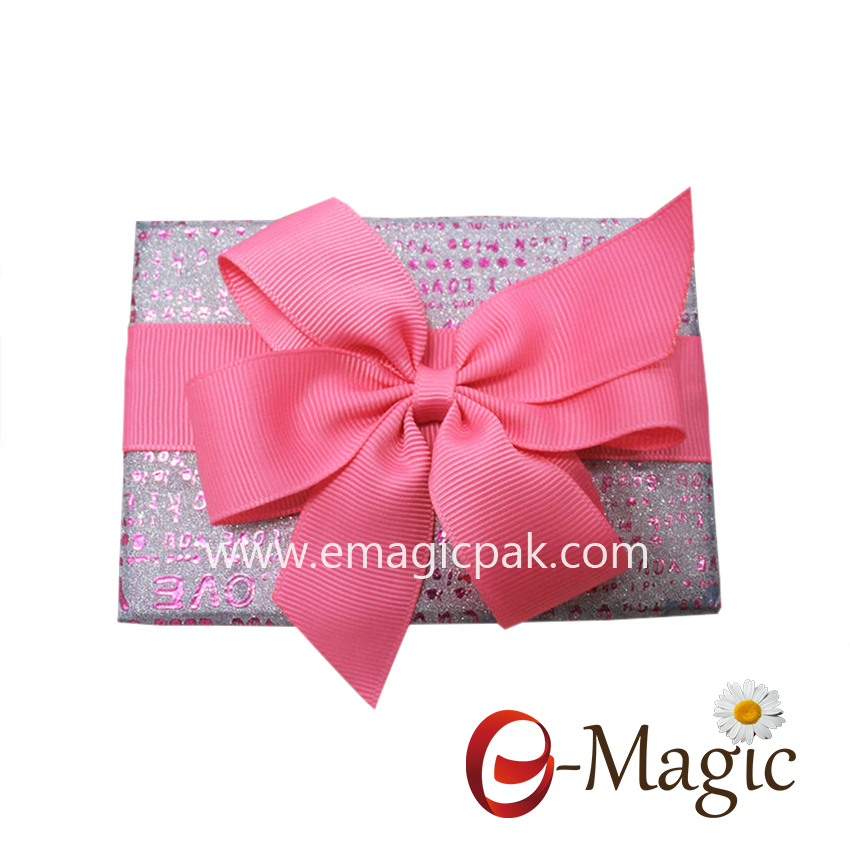 Packing Design-09   25MM width wholesale grosgrain ribbon pre tied ribbon bow with self adhesite