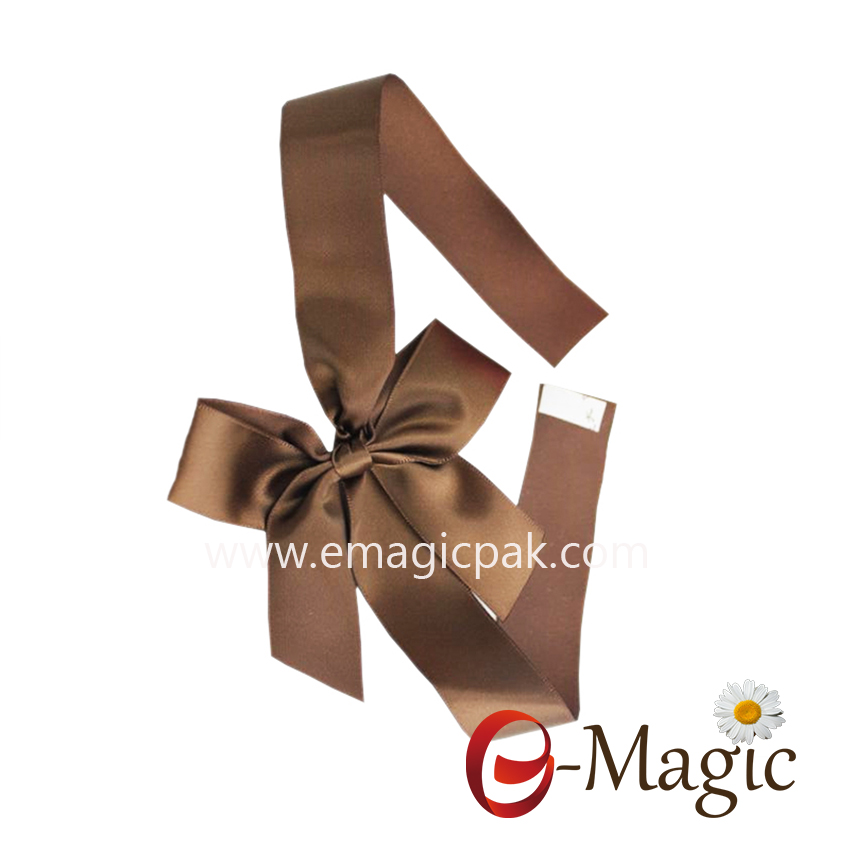 PB-084  wholesale satin ribbon packing bow with self-adhesive tap pre-made ribbon bow