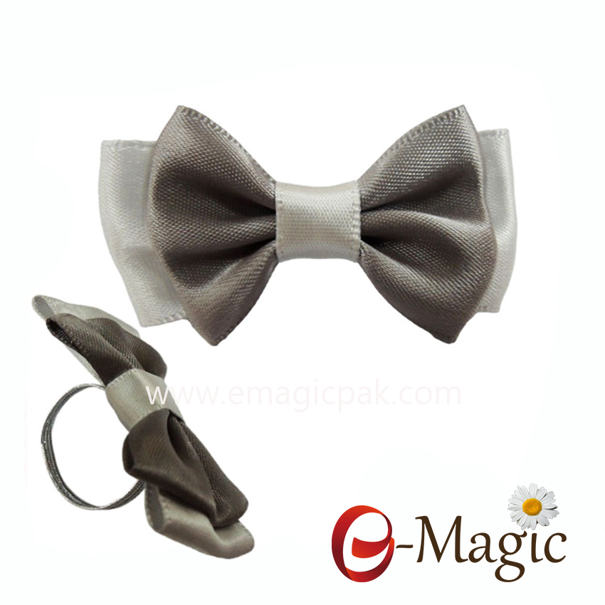 RB-056   1 inch satin ribbon bow for perfume bottle ribbon bow with elastic loop
