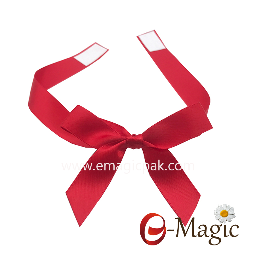 PB-085   5/8 inch polyester wholesale satin ribbon pre-tied satin ribbon bow with elastic loop