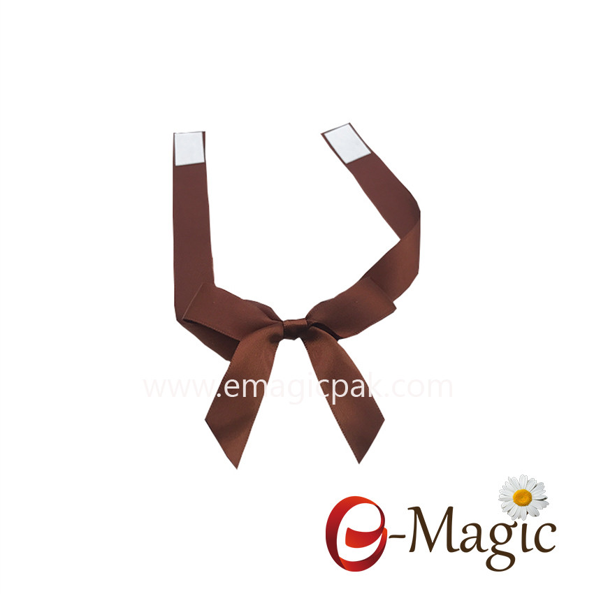 PB-086 Hight quality 16MM width satin ribbon packing bow pre tied ribbon bow with self adhesive