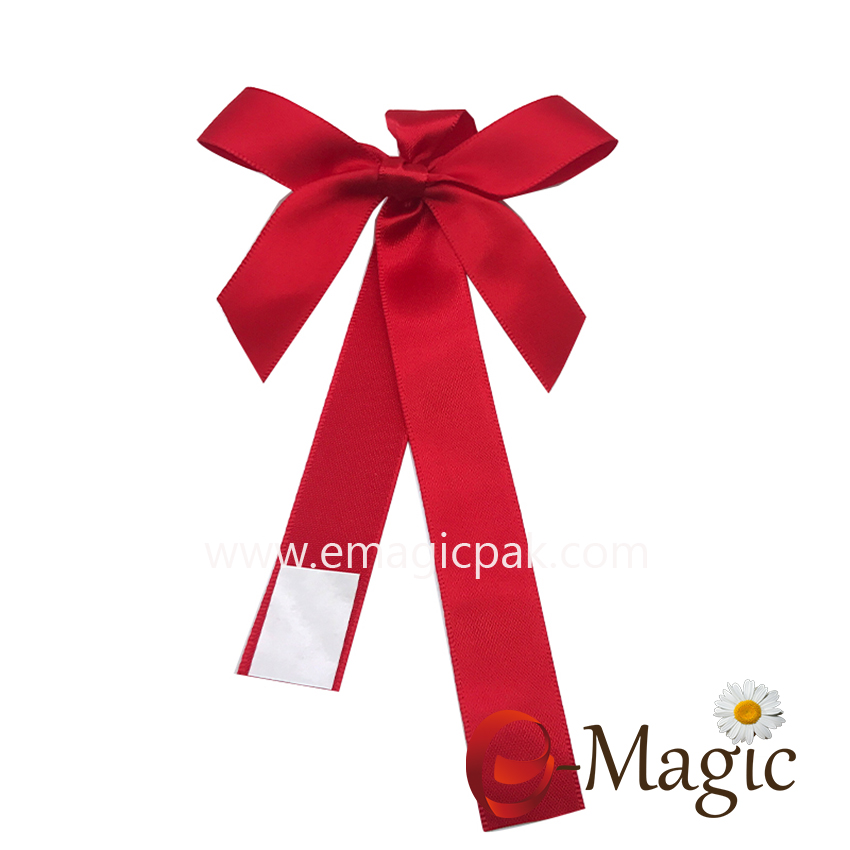PB-087  Hotsale satin ribbon bow pre-tied satin ribbon bow for gift packaging
