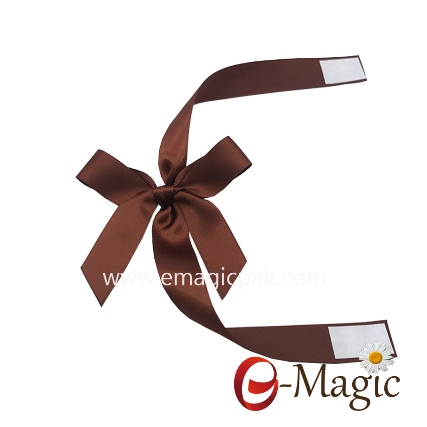 PB-088  High Quality Brow satin ribbon packing bow for chocolate packing