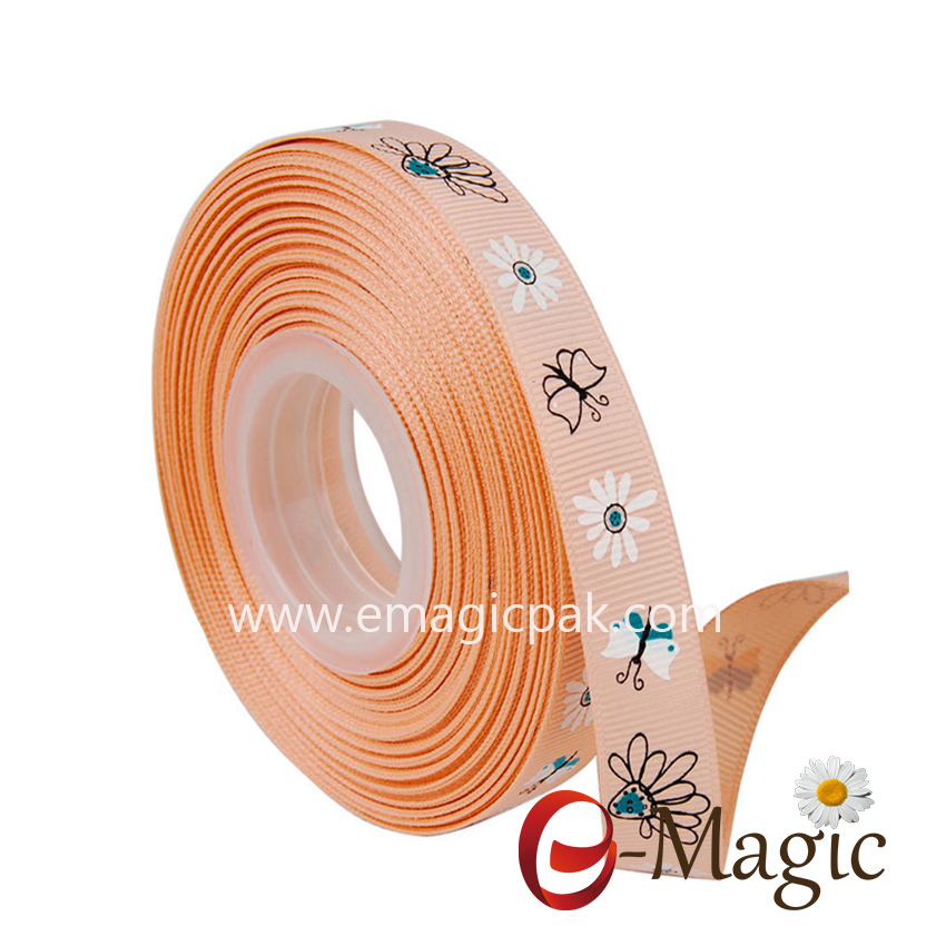 Flower-013  5/8 inch High Quality grosgrain ribbon with  flower design custom printed ribbon