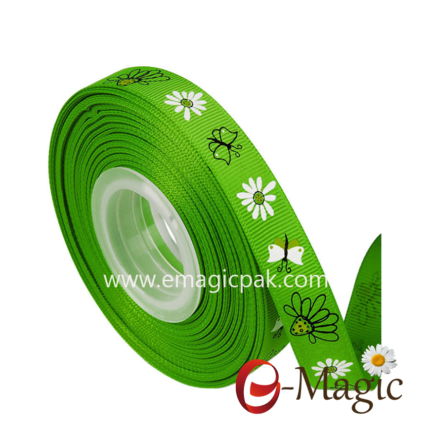 Flower-012   5/8 inch wholesale grosgrain ribbon with  flower design custom printed ribbon
