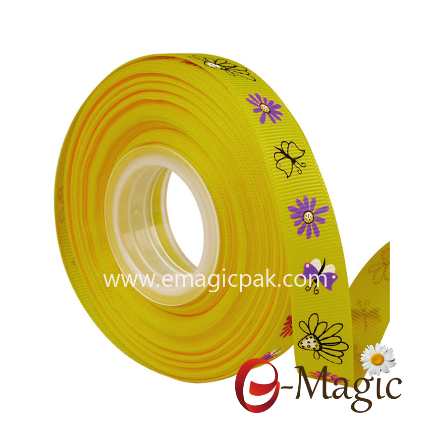 Flower-011   16MM width polyester grosgrain printed ribbon with screen ink flower printed ribbon