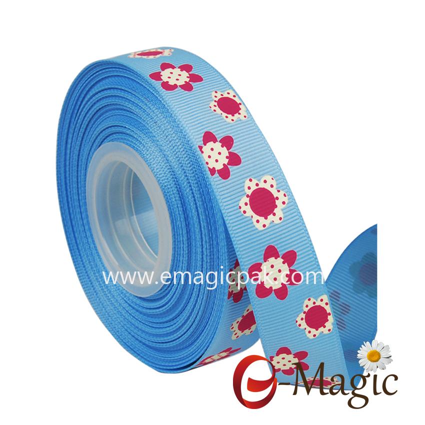 Flower-010  15MM width polyester Green grosgrain ribbon customised ribbon printing