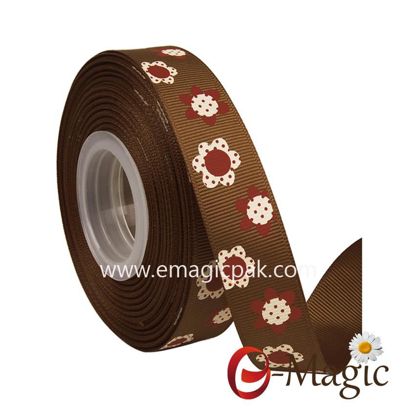 Flower-09  5/8 inch wholesale grosgrain ribbon with  flower design custom printed ribbon