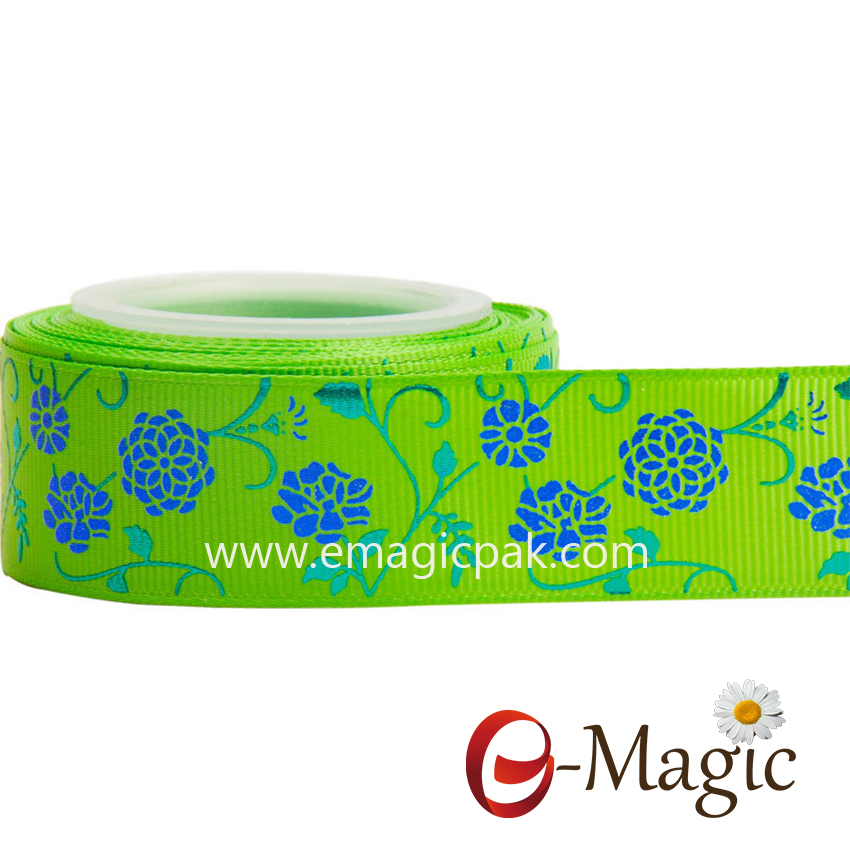 Flower-017  25MM width polyester grosgrain printed ribbon with foil blue flower printed ribbon