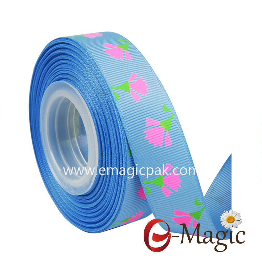 Flower-016   7/8 inch grosgrain printed ribbon flower printed ribbon