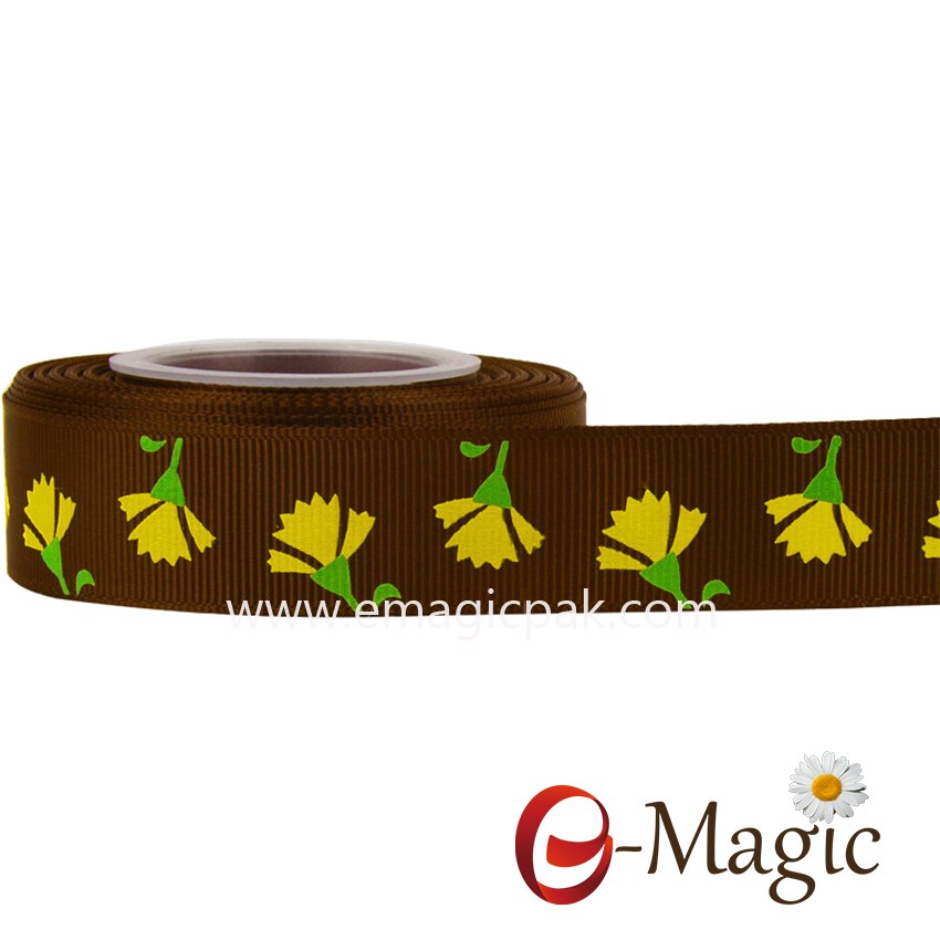 Flower-015  25MM width polyester grosgrain printed ribbon with screen ink flower printed ribbon