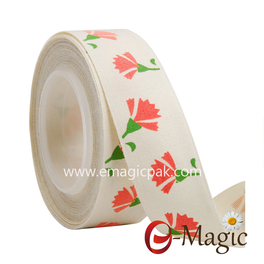 Flower-014  1 inch cotton ribbon with pigment flower printed ribbon