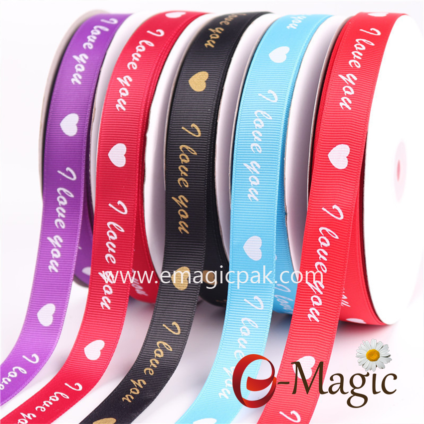 PR-016   5/8 inch polyester colorful grosgrain ribbon with screen ink print logo