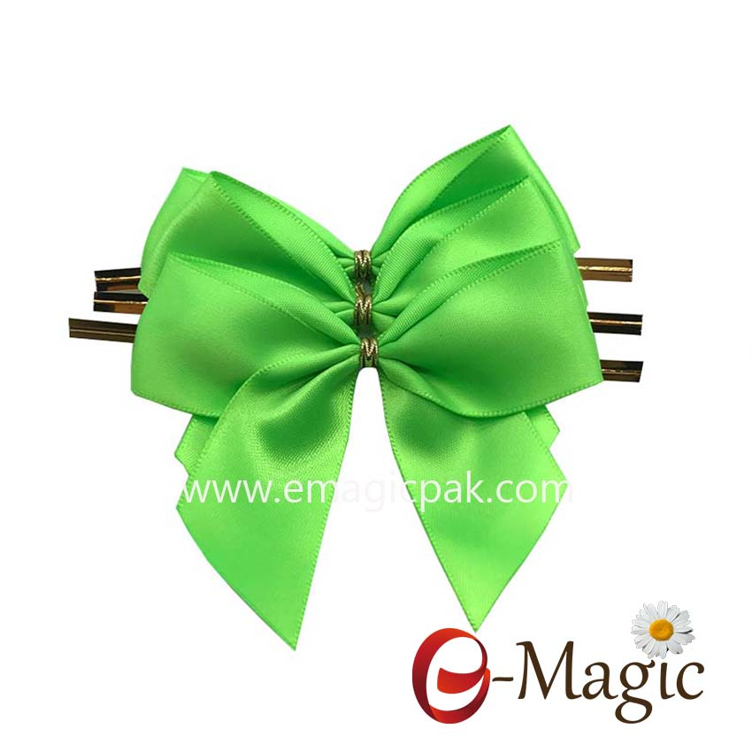RB-057  25MM width polyester single face satin ribbon bow with clip for chocolate and candy packaging