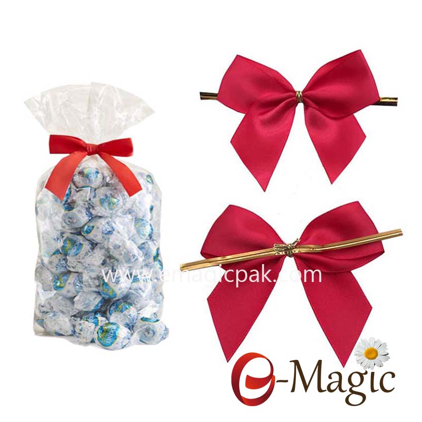 Packing Design-012  Red Satin Ribbon Wire Twist tied Bow for Candy Wrap