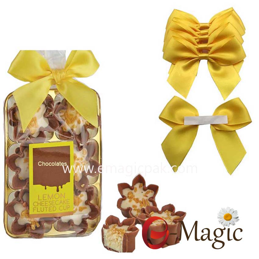 Packing Design-011  Wholesale Pre-tied Ribbon Bow for Chocolate Packing