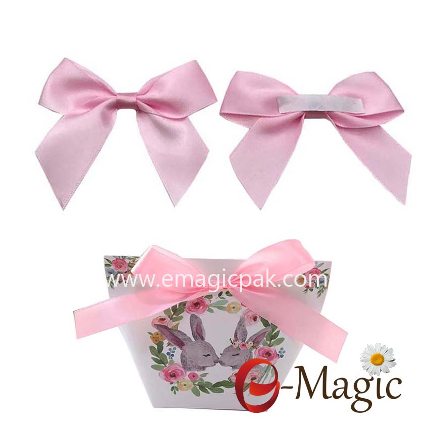 Packing design-010  Handmade ribbon bow for chocolate decoration