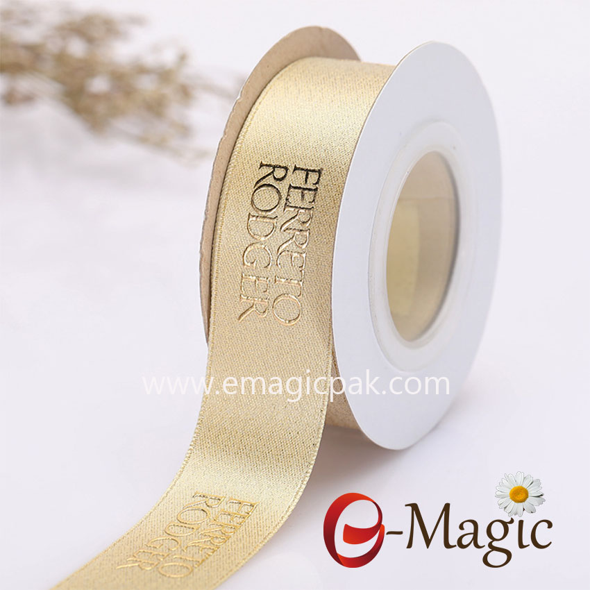 25MM width polyseter gold metallic satin ribbon with plastisol foil print logo in European gold