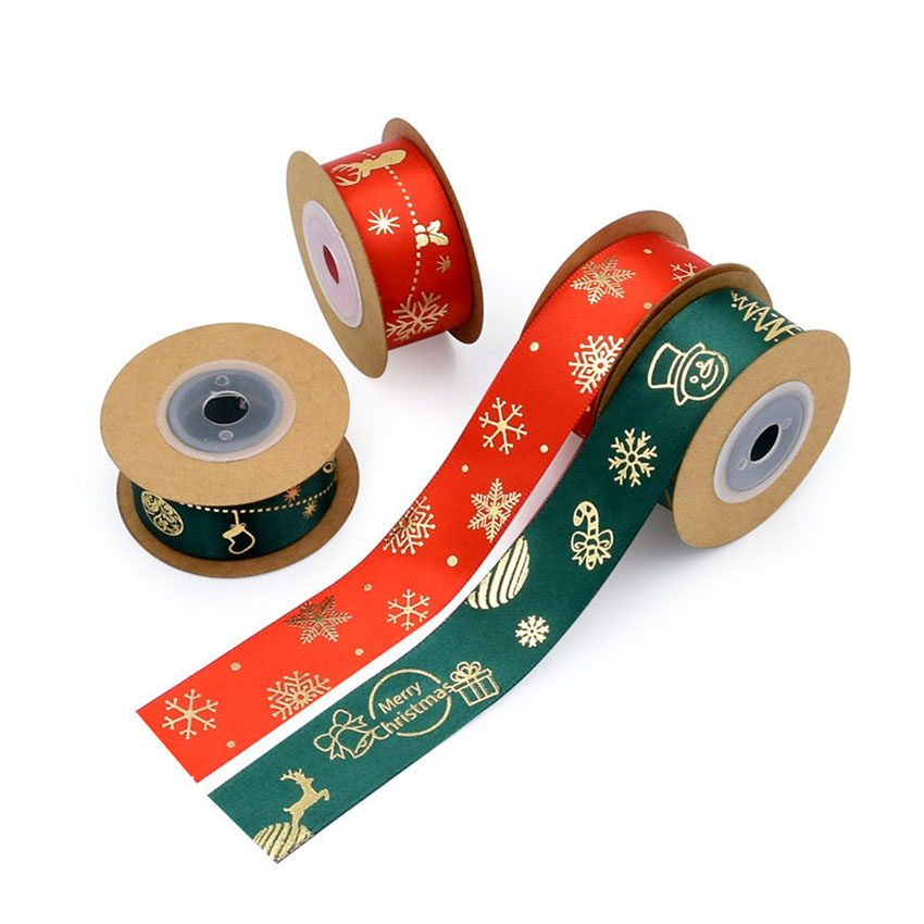 PR-025   100% polyester 25mm 50y/roll New Foil Gold Printed xmas satin ribbon Christmas wired decoration Ribbon For gift