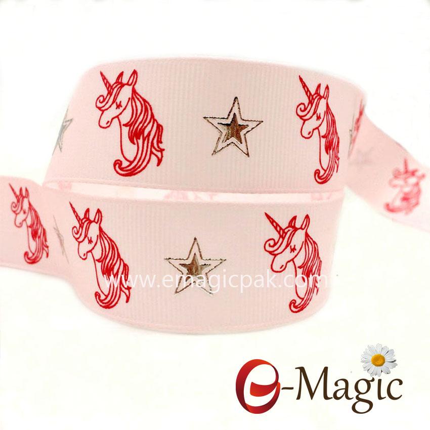 Christmas-039  1 inch polyester Grosgrain Ribbon Printed Mixed Colour Ribbon