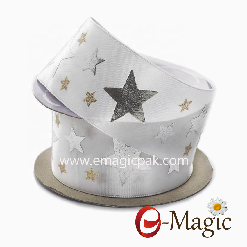 Star-09  star pattern custom satin ribbon silver foil and glitter printed ribbon