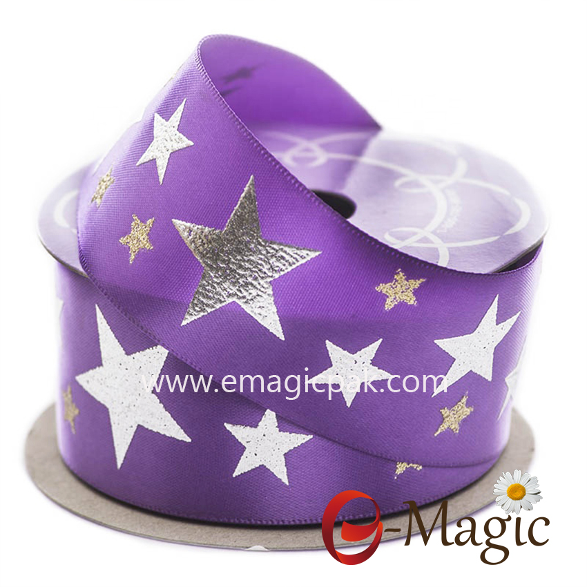 Star-10   Spring New Ribbon Silver Star Plating Print Satin Ribbon