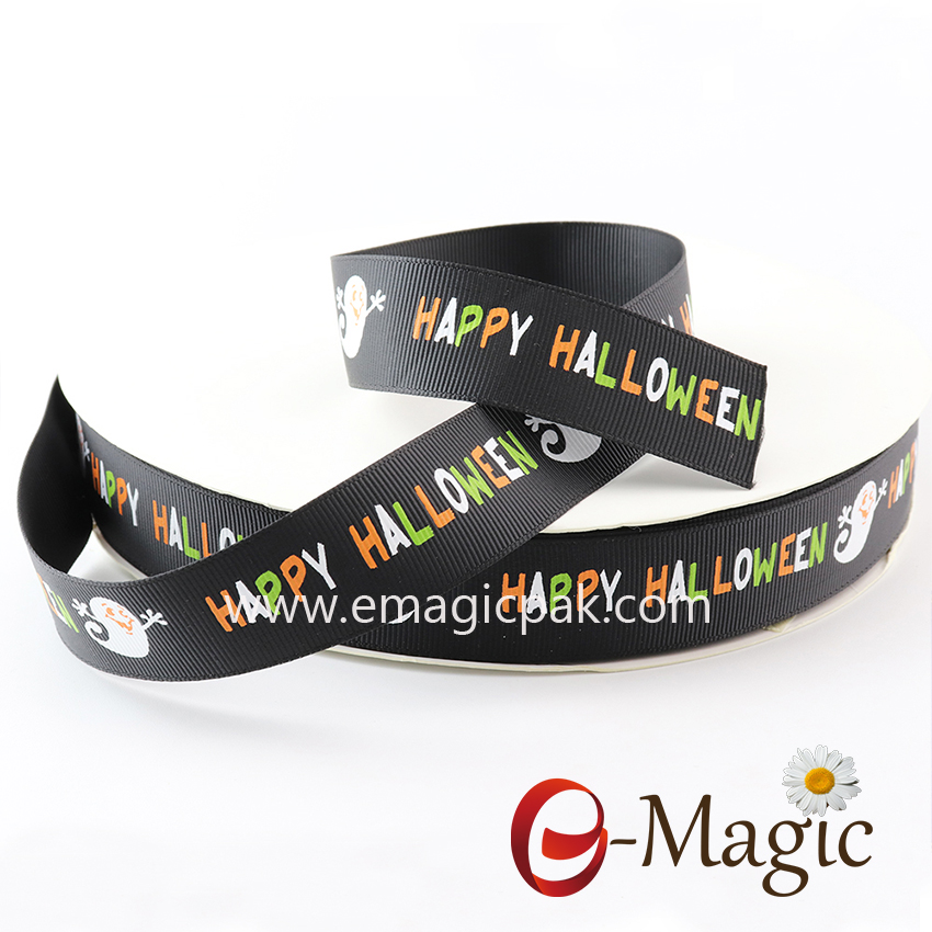 Halloween-12    High Quality Happly Halloween Grosgrain Printed Ribbon