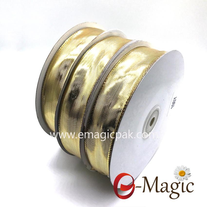 Lurex-002     5/8  inch  gold  lurex ribbon with wire