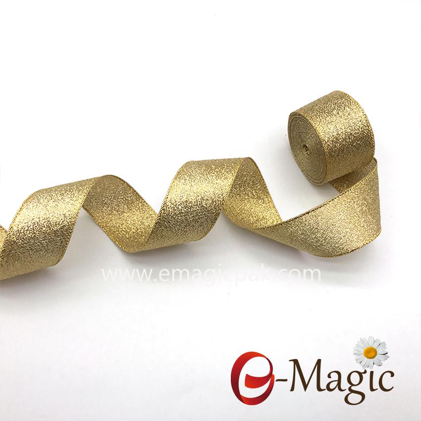 Lurex-004   Custom colors metallic glitter ribbon gold lurex ribbon