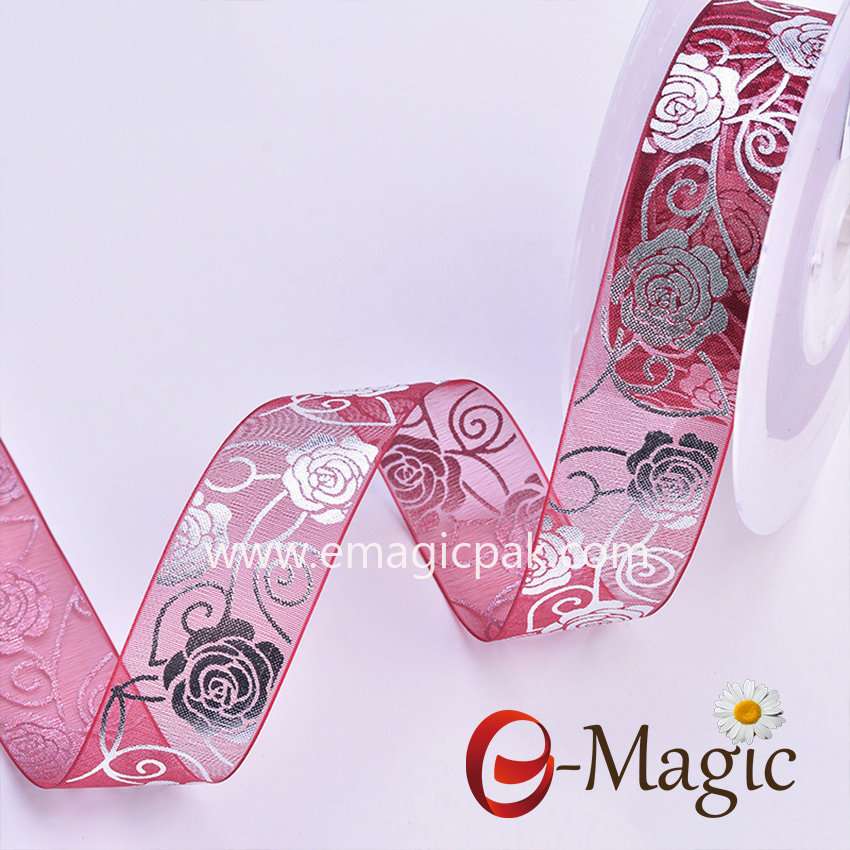 Mothers-10  Top quality well designed custom wholesale organza ribbon  print rose flower for Mothers  Day