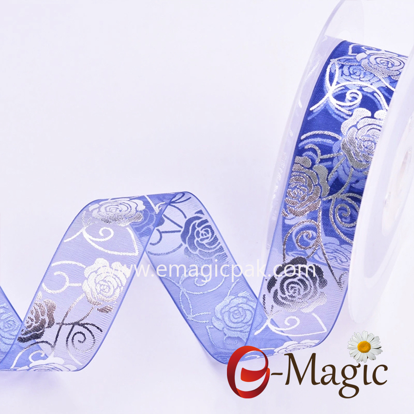 Mothers-07  Blue Organza ribbon with print rose flower design