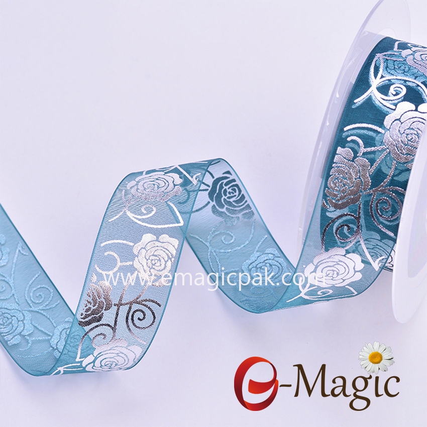 Mothers-08  Thin organza ribbon with flower design printing 2.5 cm is available