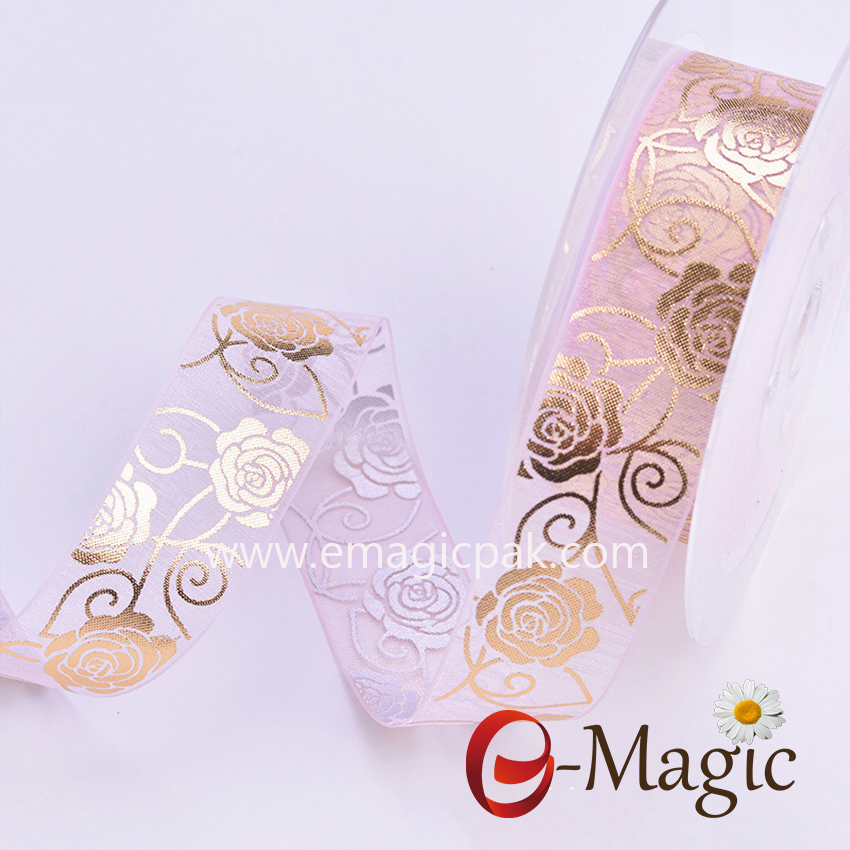 Mothers-09  Organza ribbon with Rose printing in gold