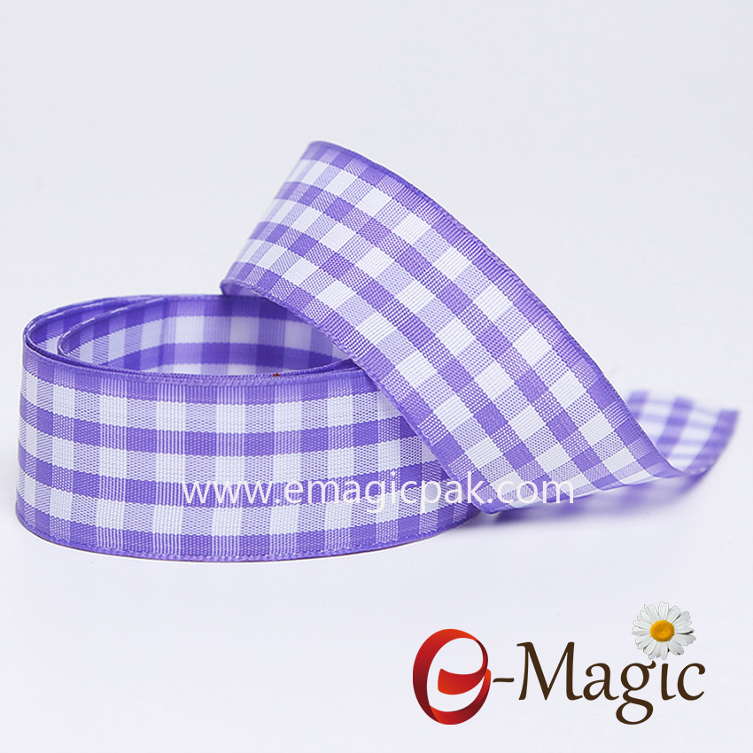 PR-025  Traditional polyester plaid woven ribbon for everyday