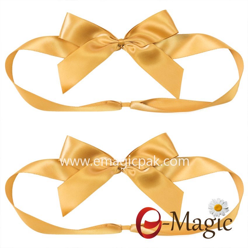 PB-095   Yellow satin ribbon packing bow for Easter gift box packaging