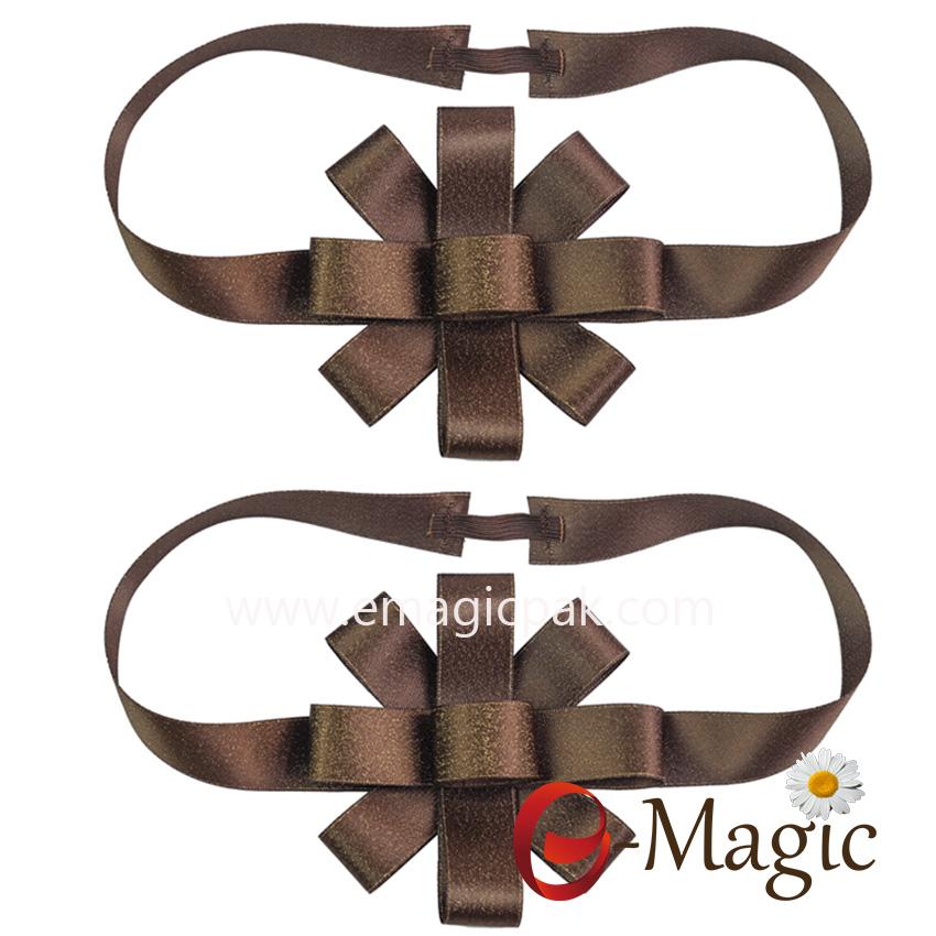PB-093   chocolate gift box packing Lurex satin ribbon bow