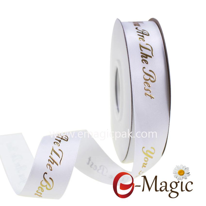 Wholesale custom logo 3D gold foil printed ribbon