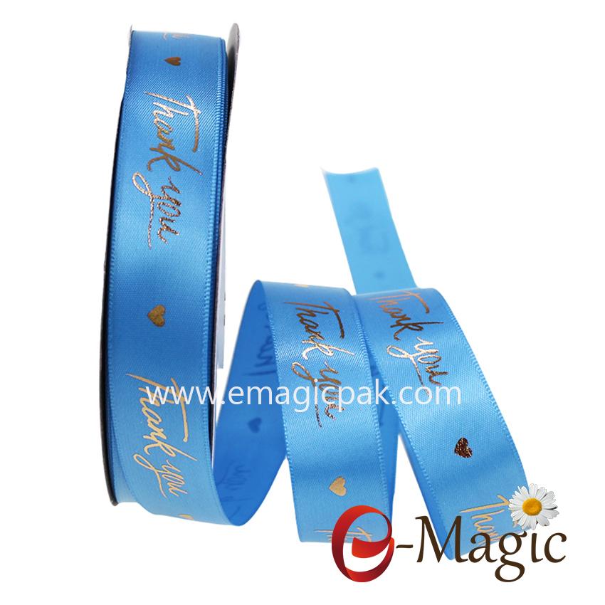 Fashion cheap custom gold  foil printed  satin ribbon