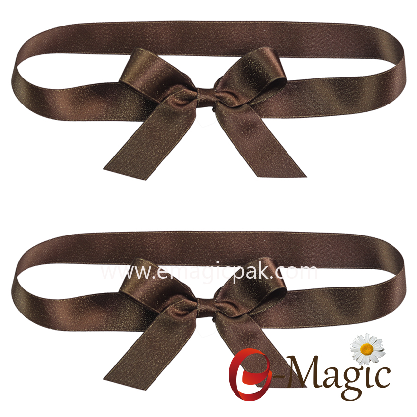 PB-092  High quality Gold lurex satin packing bow with elastic