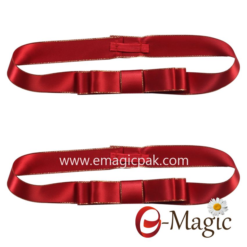 PB-090    Top grade pre-made satin ribbon elastic bow with stretch loop,100% polyester gift packing wrapping ribbon
