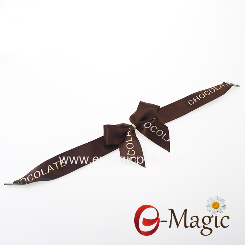 Packing Design-018  Chocolate logo pre-tie packing ribbon bow with Metal barbed