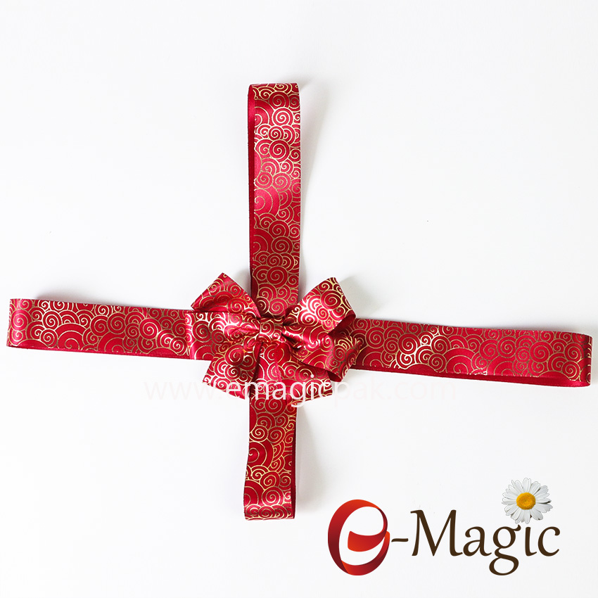 PB-099  gold pre-tied satin ribbon bow with elastic loop gift packaging